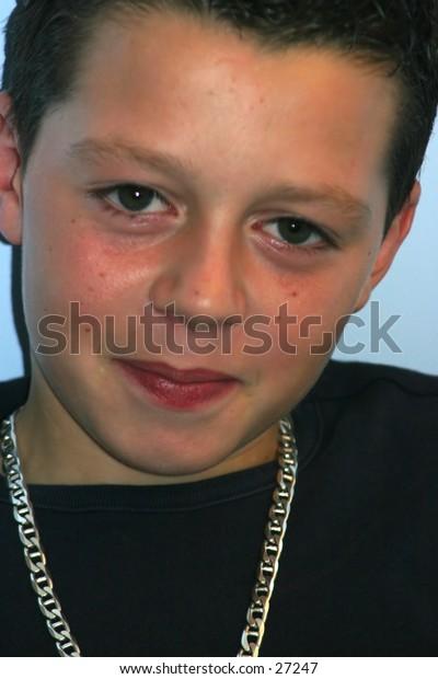 close up of teenage boy