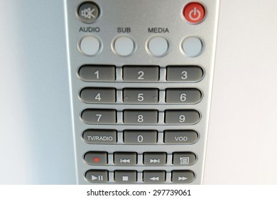 Close up Television and receiver remote control