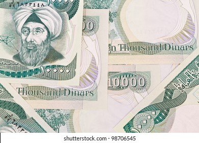 close up of ten thousand iraqi dinar notes