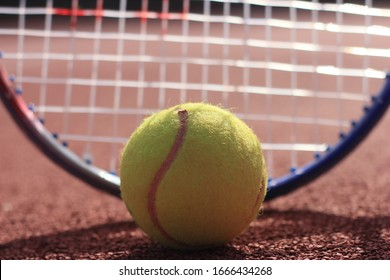 Close Up Tennis ball and tennis racket at the court
