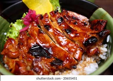 Close up of teriyaki rice in a bowl.