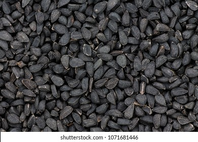Close up texture of black seeds or nigella also known as kalonji, an ancient spice from India known for its pungent taste and medicinal qualities