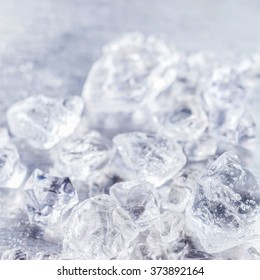 Close up texture of crushed ice cubes ready for making delicious refreshing granita slush drinks in summer