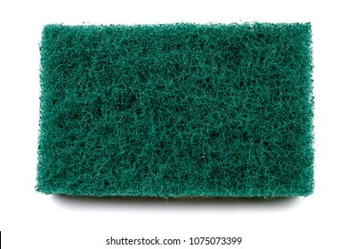 Close up texture of Green Heavy Duty Cleaning scourer Pad Looks like a lawn  on white background.
