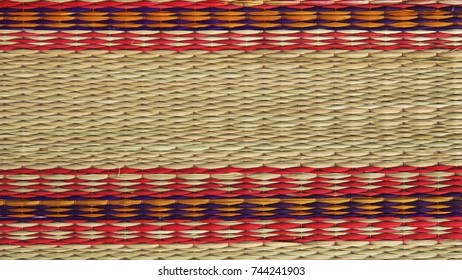 Close up texture of native thai style weave sedge mat background