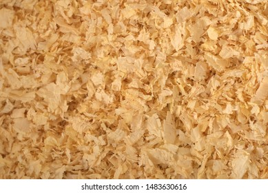 Close up texture of pine wood shavings, used as pet litter.