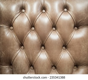 Close up texture of vintage brown leather sofa for background