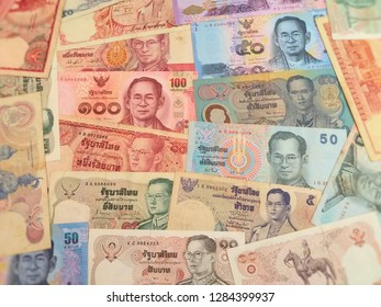 Close up of Thai banknote, Thai bath with the image of King Bhumibol Adulyadej. Banknote from Thailand. Close Up UNC Uncirculated - Collection.