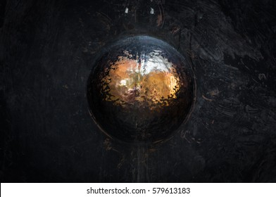 Close up to Thai Buddhist black Gong with shiny gold round center