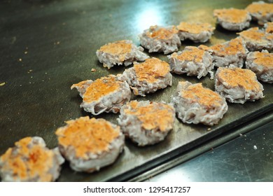 Close up of Thai dessert Daredevil coconut candy or coconut pancake,Traditional sweet in Thailand,Asian food,Street food in Thailand
