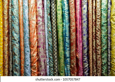 close up Thai fabric pattern textile and silk fabric texture for background