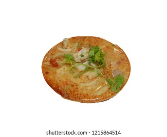 """Close up Thai famous food called """"Tomyum"""", hot and spicy soup, isolated on white background"""