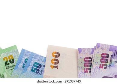 close up of thai money 20,50,100,500 baht on background (isolated)