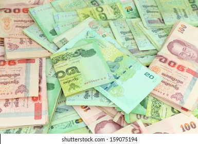 close up of Thai money background