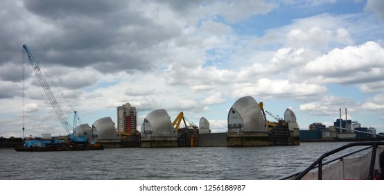 Close up of the Thames Barrier on the River Thames which prevents the floodplain of Greater London being flooded by high tides and storm surges from the North Sea and is a tourist destination