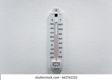 close up thermometer hang on white wall with temperature of 26 degrees Celsius, measured on a indoor thermometer.