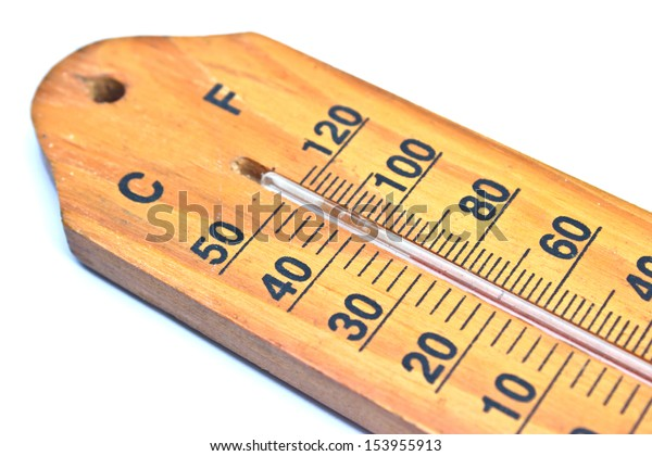 Close up of a thermometer on white background