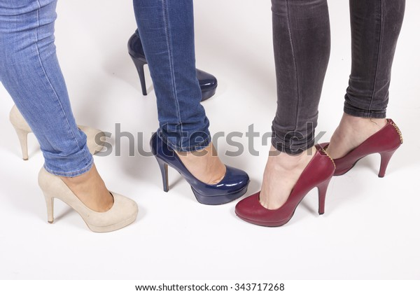 e4f6a351ef2 Close Three Girls Fancy High Heel Stock Photo (Edit Now) 343717268