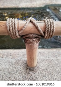 close up tied rope circle on the bamboo pole
