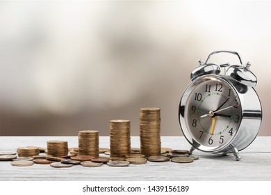 Close up of time and money with