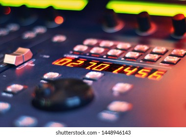 Close up at the timecode of a studio controller. A music and video production concept