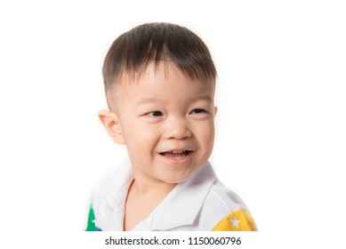 Close up of toddler Asian boy with smile