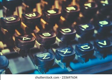 Close Up Toned Photo Of Antique Typewriter Keys. Old Manual Retro Keys, Vintage Keyboard.