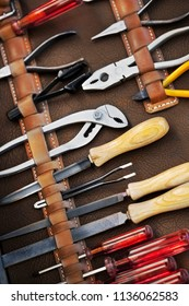Close up of a tools leather kit