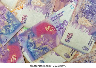 close up top level view of hundred argentinians pesos bills