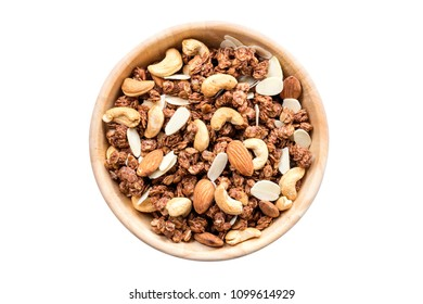Close up top view granola in the bowl on isolated with clipping path.