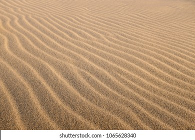 Close up top view of sand dune surface with undulated wave patterns former by wind.