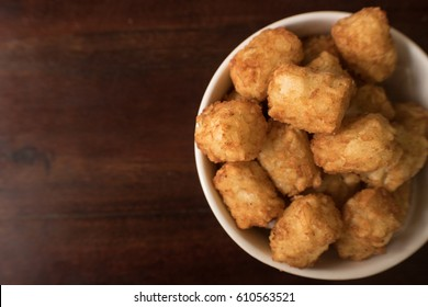 Close up of top view of tater tots