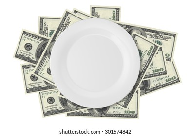 Close up top view of white porcelain flat plate on one hundred dollar banknotes, isolated on white background.