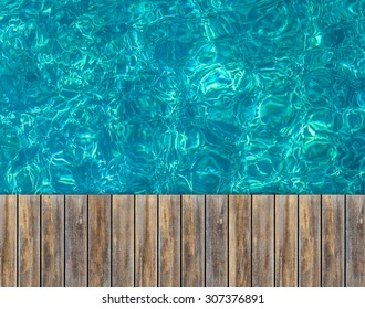 Close up top wooden floor with Turquoise water of the Koh Tao with coral reef below surface , Samui, Thailand , for background
