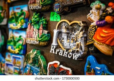 Close up of tourist magnet souvenirs of Krakow