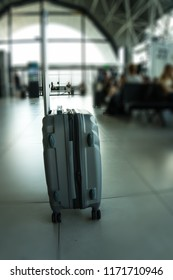 close up of tourist's suitcase at the airport