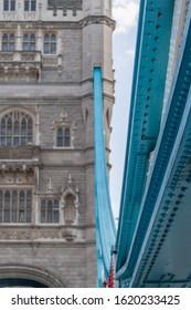 Close up of Tower bridge London pylon and blue struts