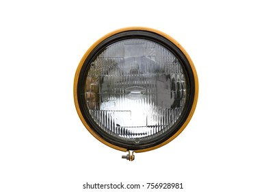 Close up tractor headlight isolated on white background with clipping path, circle sealed beam headlight