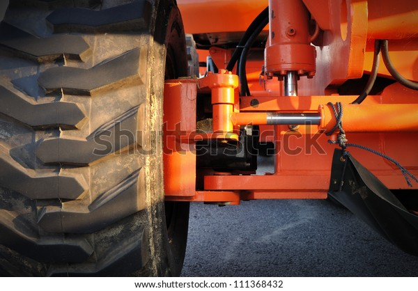 Close up of tractor tire, selective focus.