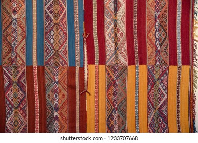 Close up of traditional Andean textile designs. Arequipa, Peru