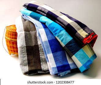 Close Up traditional hand made Thai cotton loincloth in classic striped pattern for clothing, design,wallpaper,creative concept