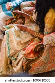 close of traditional Hindu bride and groom