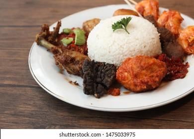 close up traditional indonesian food, nasi rames, sundanese food, culinary, indonesian cuisine