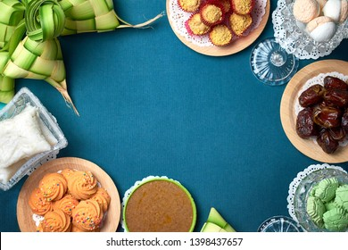 Close up traditional Malay Food and cookies during Ramadan and Eid Mubarak. Hari Raya Aidilfitri Festive