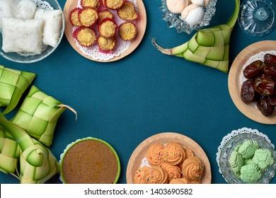 Close up traditional Malay Food and cookies during Ramadan and Eid Mubarak. Hari Raya Aidilfitri Festival