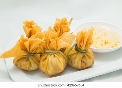 Close up of traditional Thai food money bag or golden bag appetizers
