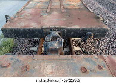 Close up of a Train car coupler joint trains and industry container railroads