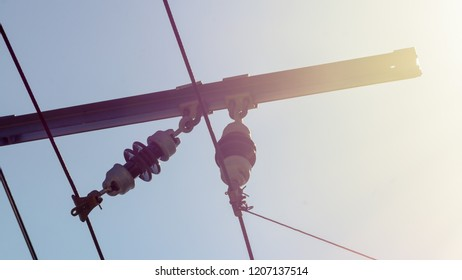 Close up of Tram Power Infrastructure A, Against blue clear sky, Captured in Poznan Poland Spring 2018 Shallow Depth of Field horizontal photography