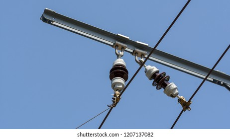 Close up of Tram Power Infrastructure B, Against blue clear sky, Captured in Poznan Poland Spring 2018 Shallow Depth of Field horizontal photography