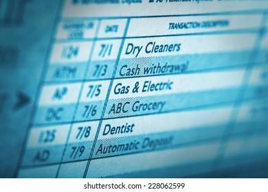 Close up of a transaction description in a check book